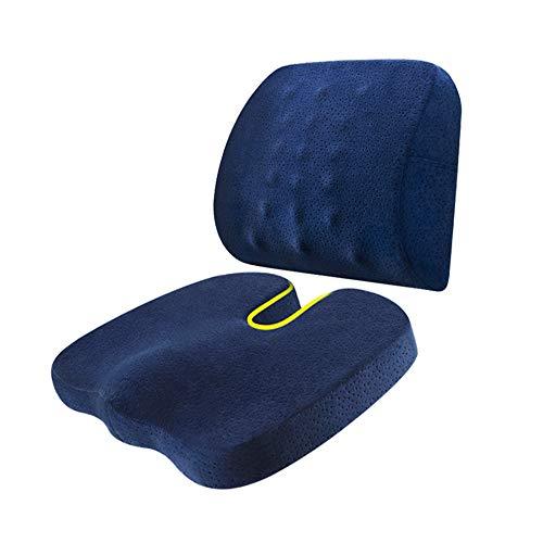 SEGIBUY Zitkussen en Lumbar ondersteuning kussen - Nieuwe & verbeterde stoel rugsteun kussen - perfecte onderrug ondersteuning voor bureaustoel of auto