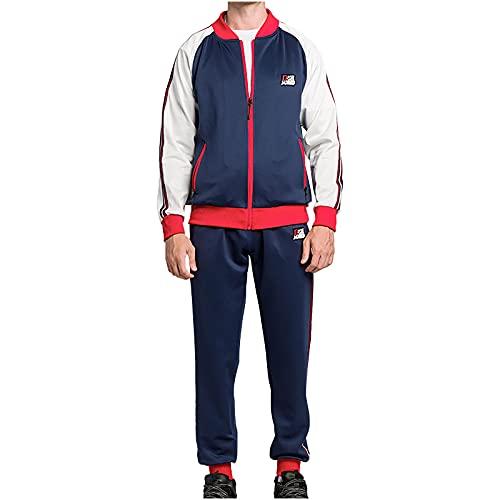 BGUK Chándal para hombre de manga larga, sudadera con capucha y pantalón de chándal de deporte, 2 unidades, azul marino, M