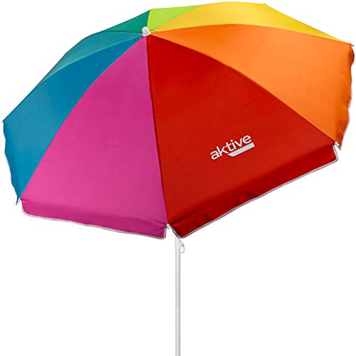 Aktive 62220 - Sombrilla de playa, Ø180 cm, con protección UV filtro 50, mástil Ø22-25 mm, incluye bolsa para transportarla, Sombrilla playa plegable, estampado multicolor