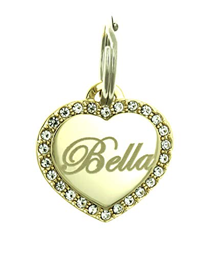Yippo Accessories Custom Engraved Personalized Gold-Plated Small Heart Rhinestones Pet Jewelry Dog Cat ID Tag
