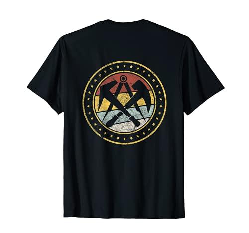 Retro Vintage Zunft Symbol Dachdecker Handwerk HINTEN T-Shirt