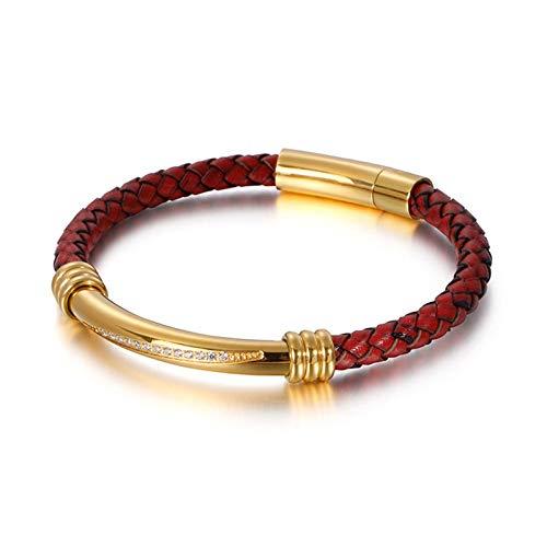 KnBoB Leder Herren Herren Gold Zirkonia Webart Armband