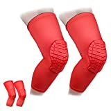 Cantop Knee Compression Sleeves Hex Knee Pads Leg Sleeve for Basketball Volleyball Weightlifting Kids and Adults Boys and Girls - 2pcs Pack (Red, S)