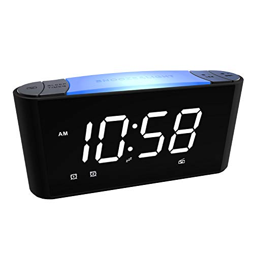 Sicsmiao Alarm Clock Radio, Alarm Clock for Bedrooms, 3 Color LED Display with Dimmer, 7 Color Night Light, Dual Alarms with Big Snooze, USB Chargers, Battery Backup, Easy to Set for Kids, Elderly.