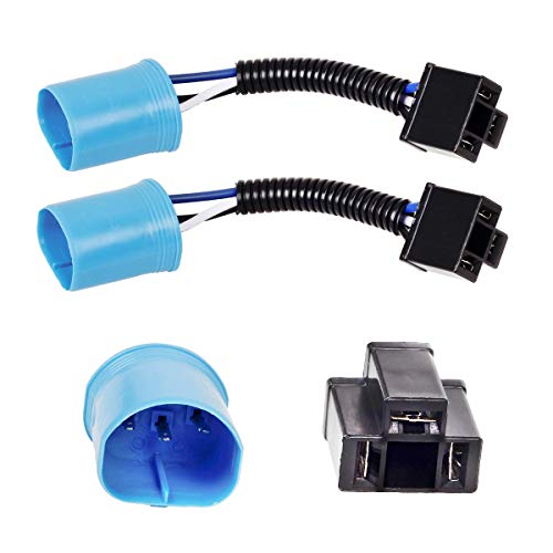 2PCS Vplus 9007 Male to H4 Female Adapter Headlight Conversion Cable Compatible with Hummer H2, Jeep Wrangler JK TJ 7inch LED Headlight