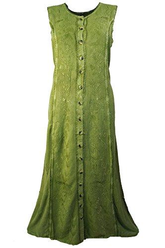 Guru-Shop Vestido de verano bordado, vestido indio, hippie, gris claro, diseño 1, para mujer, verde, sintético, talla: 40, vestido largo y midi, ropa alternativa