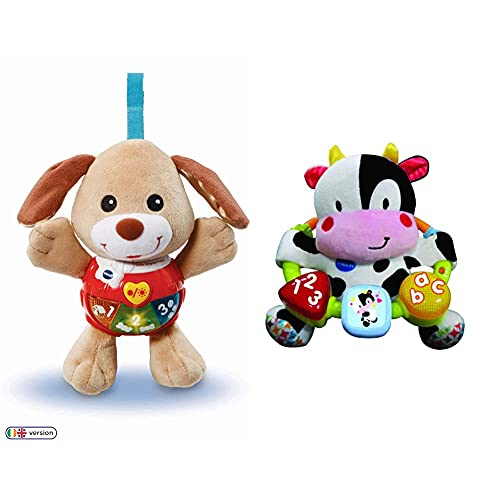Vtech 502303 Little Singing Puppy Educational Baby, Clip On Cot, Pushchair and Pram,for 3-12 Months kids & 166003 Baby Little Friendlies Moosical Beads Baby Toy Baby Toy For Babies from 3 Months+