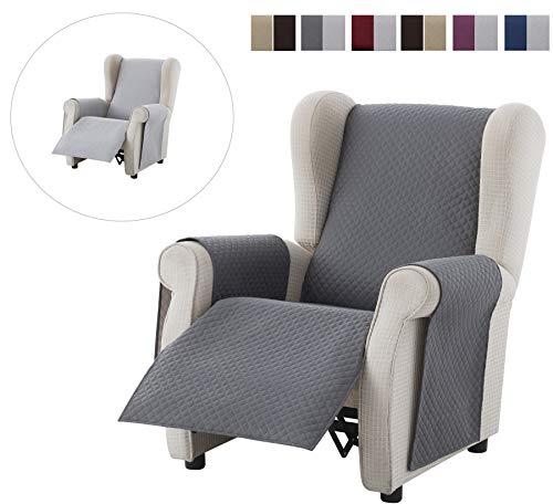 Textil-home Sesselschoner Relax Adele, 1 Sitzer - Reversibel gepolsterter Sofaschutz. Farbe Grau