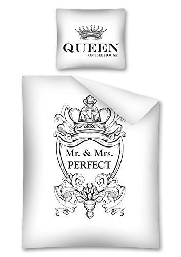 Preisvergleich Produktbild DP Bettwäsche Mr. & Mrs. Perfect ,  in Schwarz / Weiß aus 100 % Baumwolle,  140 x 200 cm,  70 x 80 cm