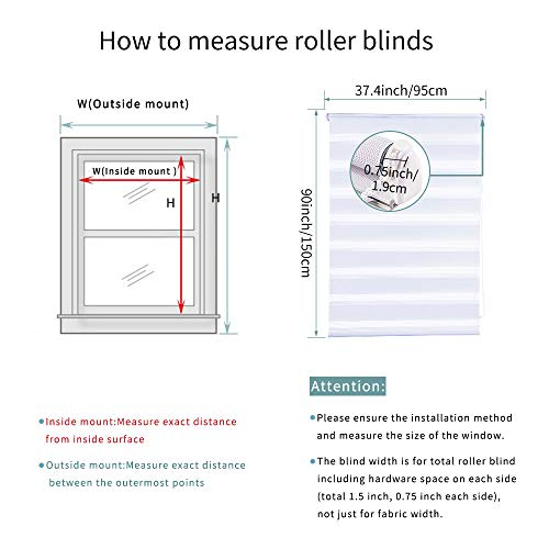 SMONTER Easy Fix Zebra Roller Blind,Day and Night Blinds Curtains with Install Accessories (95CMx150CM, WHITE)