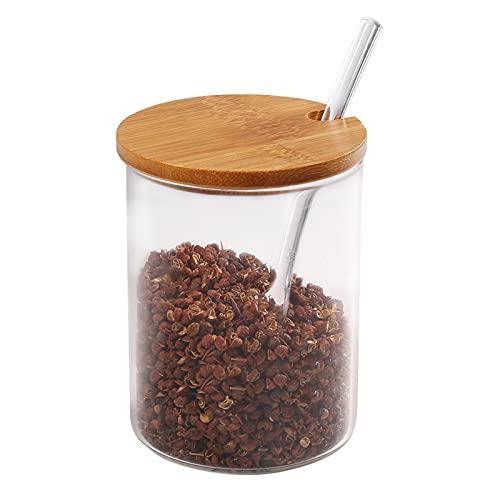 77L Zuckerdose, Glas Zucker Schüssel mit Löffel und Deckel aus Bambus für Zuhause und Küche, elegantes Design, 350ML (11.8 FL OZ)
