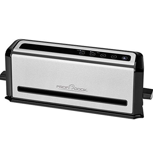 Profi Cook PC-VK 1133 Edelstahl-Vakuumiergerät, Lebensmittel bleiben vakuumiert bis zu 8x länger frisch, Elektronisches Sensor Touch-Bedienfeld