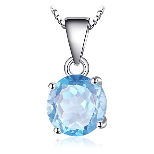 JewelryPalace 2.4ct Women Pendant Necklace in a Round Shape Sky Blue Topaz 925Sterling Silver Chain 45cm