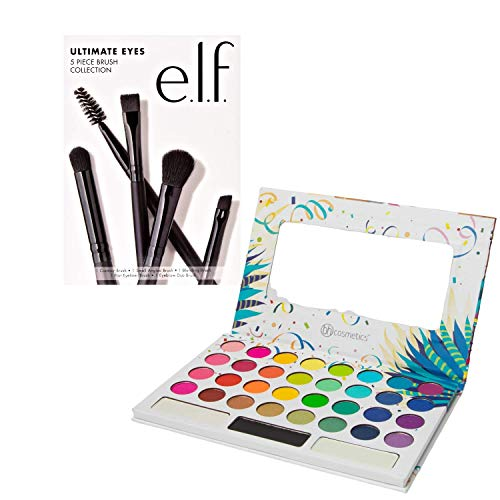 BH Cosmetics Pressed Pigment Eyeshadow Palette, Take Me Back To Brazil, E.L.F. 5 Piece Ultimate Brush Collection - Bundle