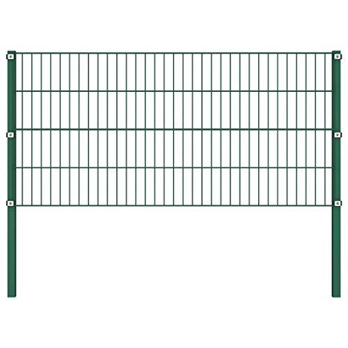 vidaXL Panneau de clôture avec poteaux en fer revêtu par pulvérisation 5 panneaux de clôture et 2 poteaux Vert 0,8 m