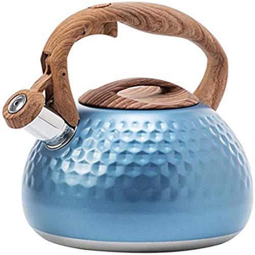 Cutfouwe 2.8L Kettle 2.8L Hervidor con Mango de Grano de Madera Hervidor de Flauta de Acero Inoxidable Inducción Camping de Gas Estufa de Gas Verde Mirar Agua Caldera Retro Universal,Azul