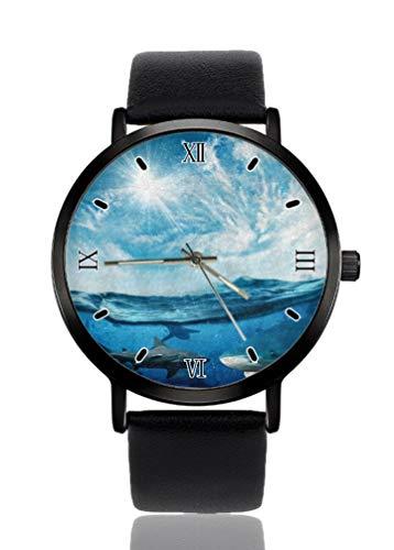 Hermoso Sun Shark Underwater Reloj de pulsera de mujer ultra fino caso extremadamente simple analógico pulsera de mujer ultra fino reloj de cuarzo japonés