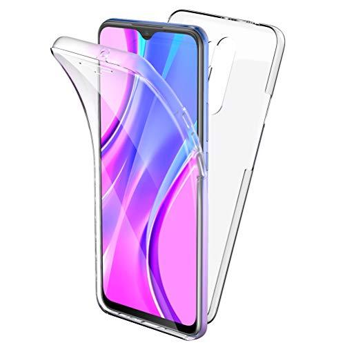 Oududianzi Funda para Xiaomi Redmi 9, 360 Grados Protección Diseñada, Transparente Ultrafino Silicona TPU Frente y PC Back Carcasa Belleza Original Funda de Doble Protección - Transparente