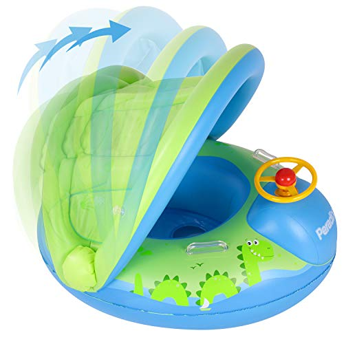 Peradix Baby Swimming Pool Float Boat Trainer Seat Inflatable Swim Rings with Repair Patch and Adjustable Sunshade Kids Inflatable Pool Toys for 6 to 36 Months (25Kg) (Blue-Green)