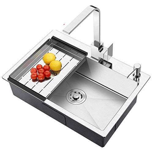 XJJZS Fregadero, gota profundamente en acero inoxidable solo vaso granja falda delantera del fregadero de cocina, níquel cepillado granja del fregadero de cocina (Color: Plata) ( Size : 60*45*20cm )