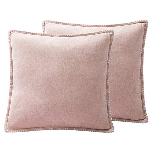 Dricar Fundas de cojín de chenilla, 2 unidades, suaves, cómodas, cuadradas, decorativas, fundas de cojín para sofá, silla, coche, dormitorio, sala de estar, 45 x 45 cm (rosa)