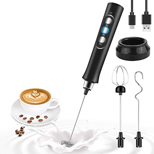 Lecone Espumador de leche eléctrico, mini batidor de mano recargable de 3 velocidades ajustable para café con leche, capuchino,...