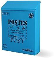 郵便受け メールボックス 防水ポストボックスの壁掛け鋼鉄メールボックスビンテージ鉄板ロック可能なメールボックス 郵便受け メールボックス (Color : Blue)