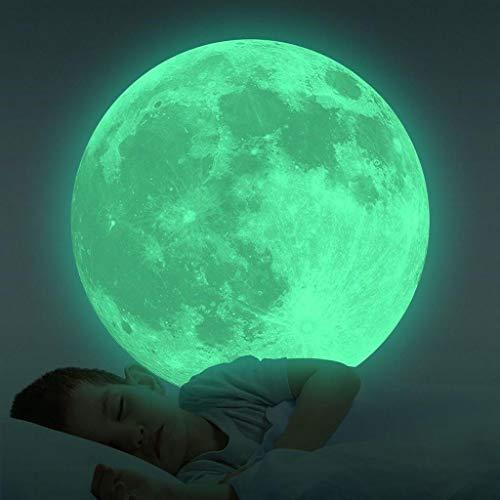 20cm Leuchtaufkleber Wandtattoo Mond Leuchtsticker, Rovinci Wandsticker Selbstklebend Fluoreszierend Wandaufkleber Leuchtender Aufkleber Hausdekoration DIY, Schlafzimmer Wohnzimmer Kinderzimmer