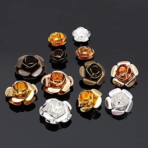 20 unids/lote 11/15/18 mm flor perlas tapa retro oro plata escultura filigrana perlas tapa accesorios joyería hacer componentes DIY
