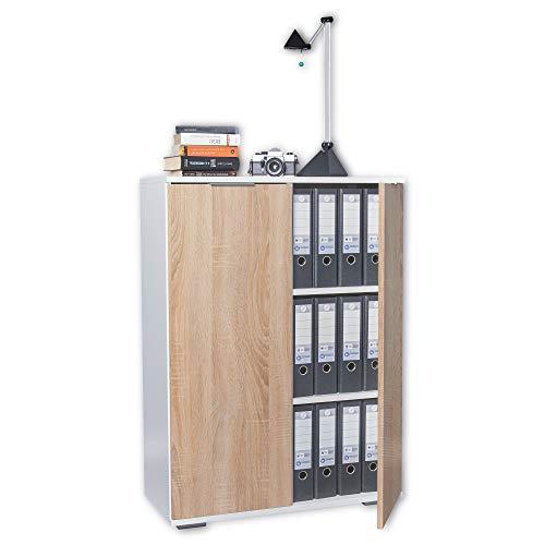 Büroschrank Mehrzweckschrank Schrank B 80,2 cm x H 109,5 cm x T 35 cm Büromöbel Aktenschrank Ordnerschrank Vorratsschrank Kommode Allzweckschrank (Aktenschrank klein, Weiß/Sonoma-Eiche)