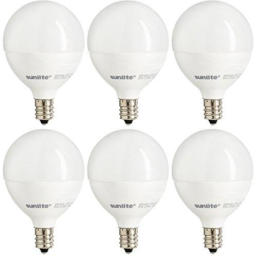 Sunlite G16.5/LED/5W/D/E12/FR/ES/27K/6PK E12 Candelabra Frost Dimmable Led Light Bulb Bathroom Vanity, 40 Equivalent - 6 Pack, White, 6 Count