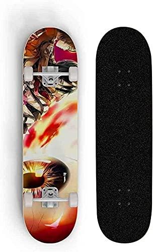 Skateboards Completa Mini Doble Kick Down Down Deck Anime Series Tablero Superficie para patinetas Completas Cuatro Ruedas Doble Tilt Skateboard Longboard