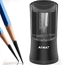AFMAT Long Point Pencil Sharpener, Artist Electric Pencil Sharpener, Charcoal Pencil Sharpener, Art Pencil Sharpener for 6-9.6mm Large Pencils, Rechargeable Pencil Sharpeners for Art Pencils-Black