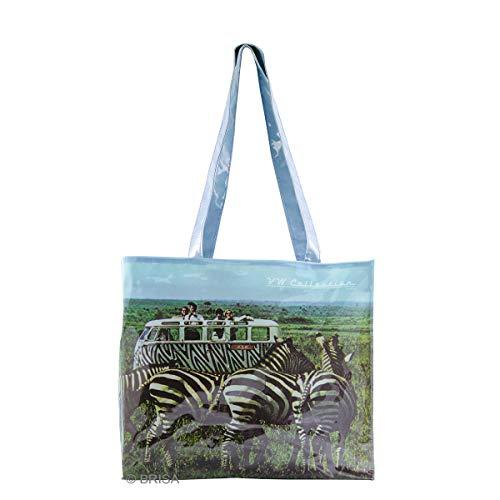 BRISA VW Collection - Volkswagen Shopper-Bag-Tasche, Einkaufs-Tüte-Beutel (PVC/Robust/Safari)