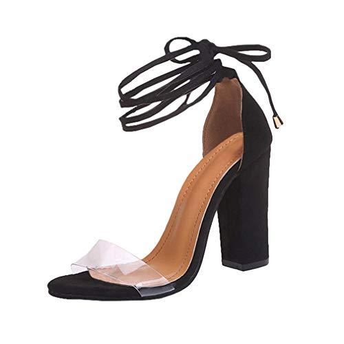 High Heels Sandaletten Damen Stiletto Schuhe, 11.5cm Frauen Römersandalen, Transparente Peep Toe Sandalen, Knöchel Schnalle Party Freizeit Hochzeit Abend Sommer Strand Schuhe Schwarz