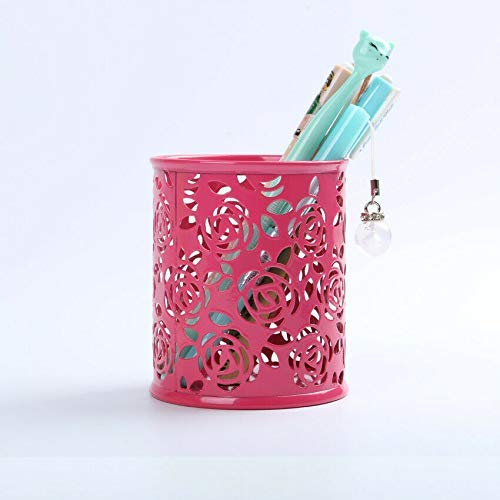 Portabolígrafos Porta lápices para escritorio, 1 bote redondo para lápices para oficina, organizador de almacenamiento en el hogar (rojo)