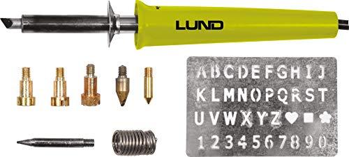 LUND Brandmalkolben Set 11 teilig, 30 Watt, 400°C, incl. viele Aufsätze und Buchstaben, Brandmalerei Brandmarkkolben Lötkolben