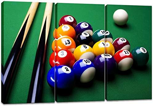 LILHXIU Billiard-Ball Leinwand Wandkunst Snooker Billardtisch Nahaufnahme Bild Druck Gemälde Modern Druck Dekoration für Home Office Wohnzimmer (Rahmen fertig zum Aufhängen)