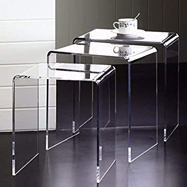 Pure Dcor Pure Decor Acrylic Nesting Tables, Set of 3, 18hx17wx11.5, Clear