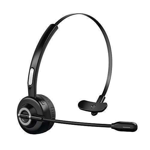 ZeaLife Bluetooth Headset mit Noise Canceling Mikrofon, Kabelloses Pro PC Kopfhörer für Laptop, Rauschunterdrückung Bluetooth Freisprechen Headset für Home Office Skype VoIP Handys Callcenter Trucker