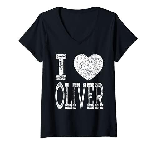 Mujer I Love Oliver Valentine Novio Hijo Marido Nombre Camiseta Cuello V