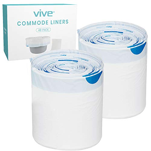 Vive 48 Pack of Commode Liners with Absorbent Pad - Disposable Replacement Bag - Fits Standard Adult Bariatric Bedside Commode Pail and Folding, Portable Toilet Chair - Absorbing Sheet Aid - Universal