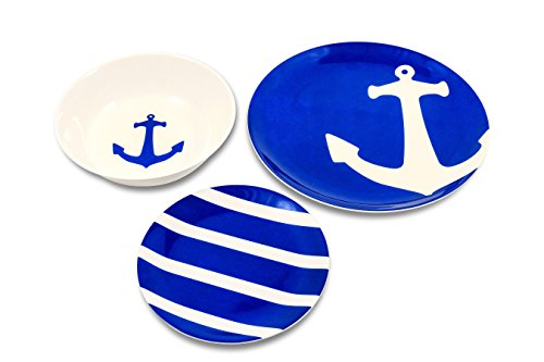 Camco Blue and White Nautical Design 12 Piece Dishware Set- Includes Marine Style Plates and Bowls   Perfect Boating, Sailing, Fishing, The Beach and More   Melamine Material -(41951)