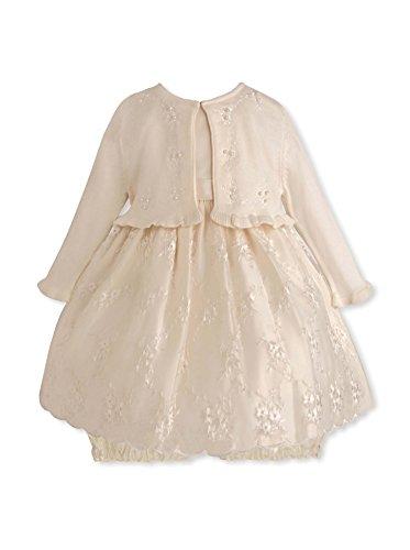 American Princess Traum Baby Mädchen Petticoat Kleid inkl. Langarm Strick-Bolero in Ivory~festlich~Taufkleid Gr. 56,62,68,74,80,86 Größe 62