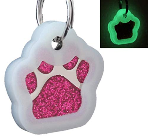 io tags Pet ID Tags, Personalized Dog Tags and Cat Tags, Custom Engraved, Easy to Read, Cute Glitter Paw Pet Tag (Pink + Silencer)