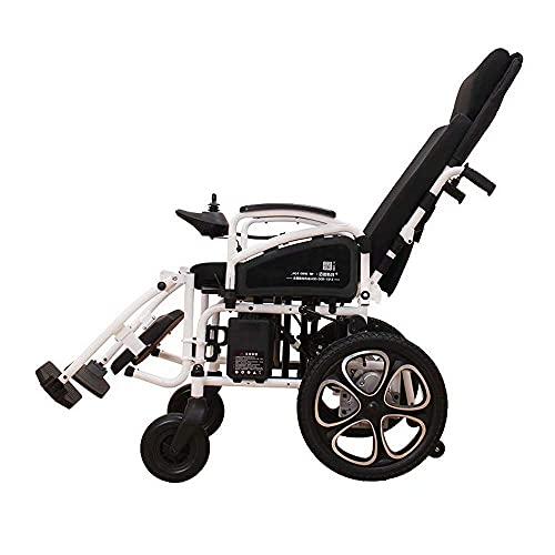 YIQIFEI Silla de Ruedas Totalmente recostada eléctrica Plegable Ligera con Respaldo Alto Ajustable y Pedal Desmontable (Silla)
