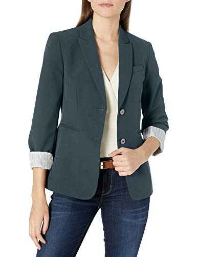 Tahari ASL Women's Two Button Striped Roll Sleeve Jacket, Forest Black, 4