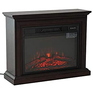 "HOMCOM 31"" 1400W Freestanding Portable 3D LED Electric Fireplace Mantel Heater Stove with Remote Control - Dark Coffee"