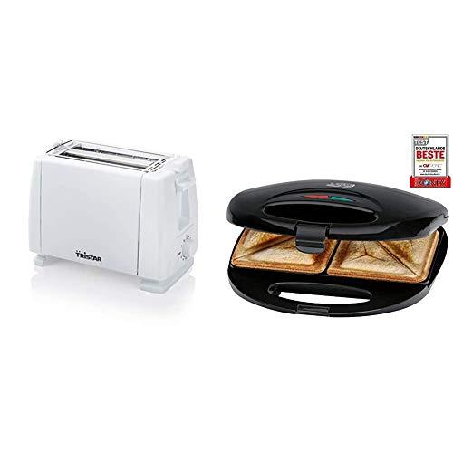 Tristar BR-1009 Toaster, 2 Toastkammern, 6 Bräunungsstufen, Weiß & Clatronic ST 3477 Sandwichtoaster, 3-eckige Sandwichplatten, automatischer Temperaturregler, mit 2 Kontrollleuchten, schwarz