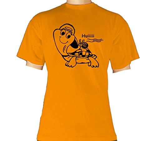 Fun T-Shirt Uni Shirts apricot - Schildkröte huiii Schnecke 10 Größe XL